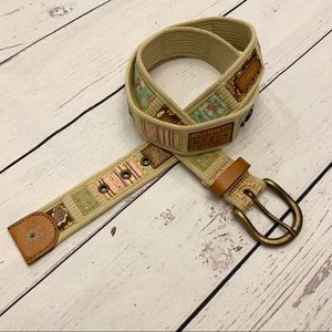 Fossil Embellished Canvas Belt - Leather Accents